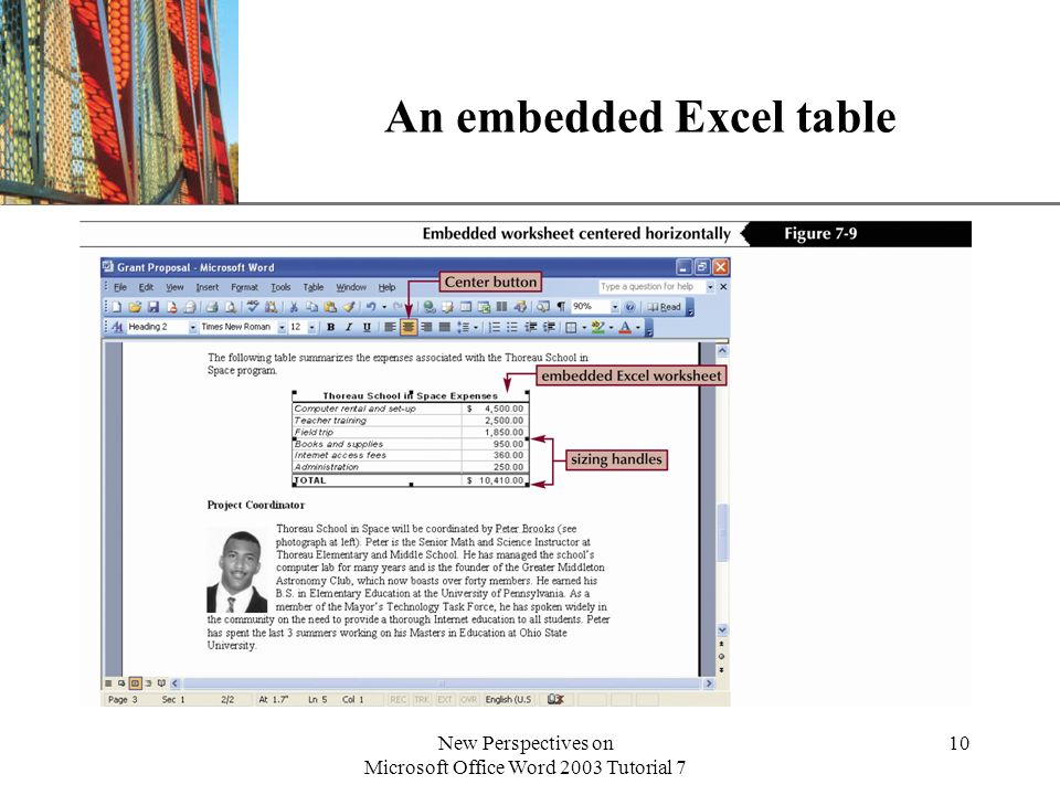 XP New Perspectives on Microsoft Office Word 2003 Tutorial 7 10 An embedded Excel table