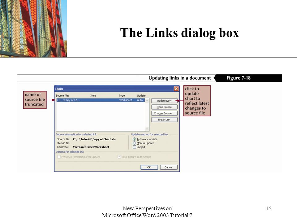 XP New Perspectives on Microsoft Office Word 2003 Tutorial 7 15 The Links dialog box
