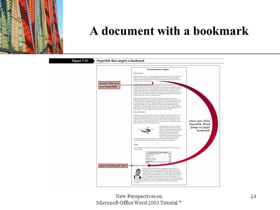 XP New Perspectives on Microsoft Office Word 2003 Tutorial 7 24 A document with a bookmark