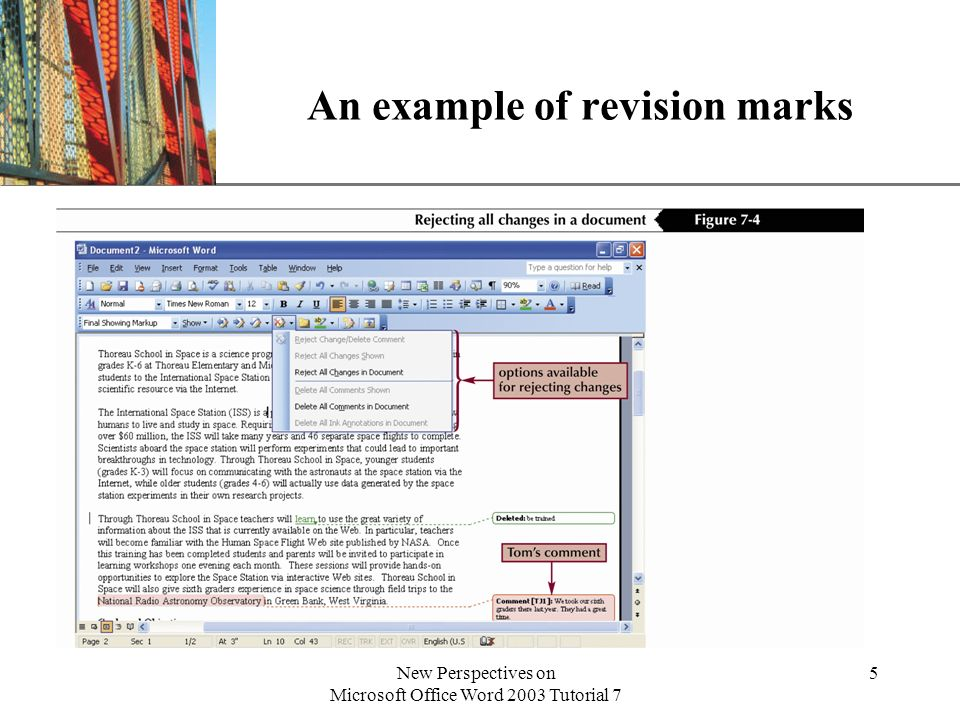 XP New Perspectives on Microsoft Office Word 2003 Tutorial 7 5 An example of revision marks