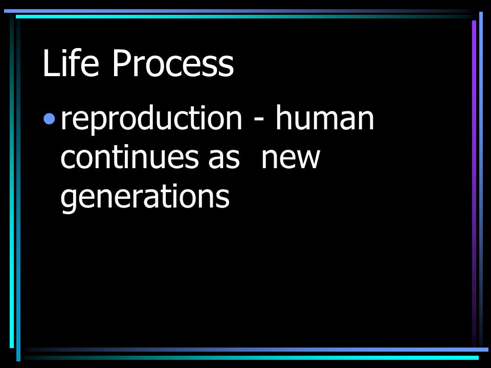 Life Process reproduction - human continues as new generations