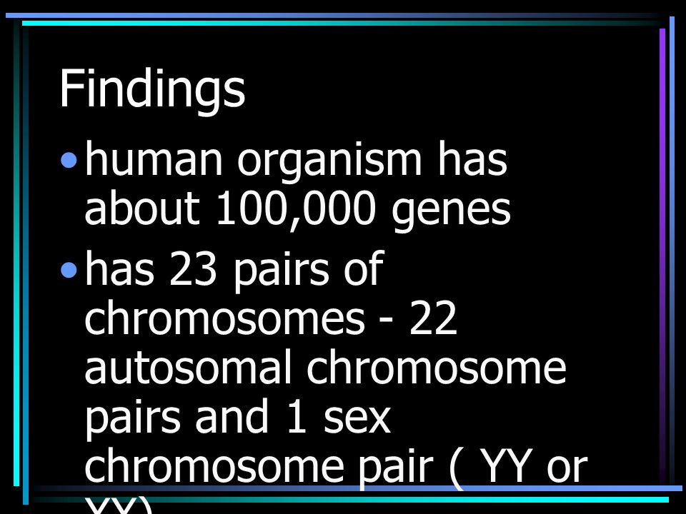 Findings human organism has about 100,000 genes has 23 pairs of chromosomes - 22 autosomal chromosome pairs and 1 sex chromosome pair ( YY or XX)