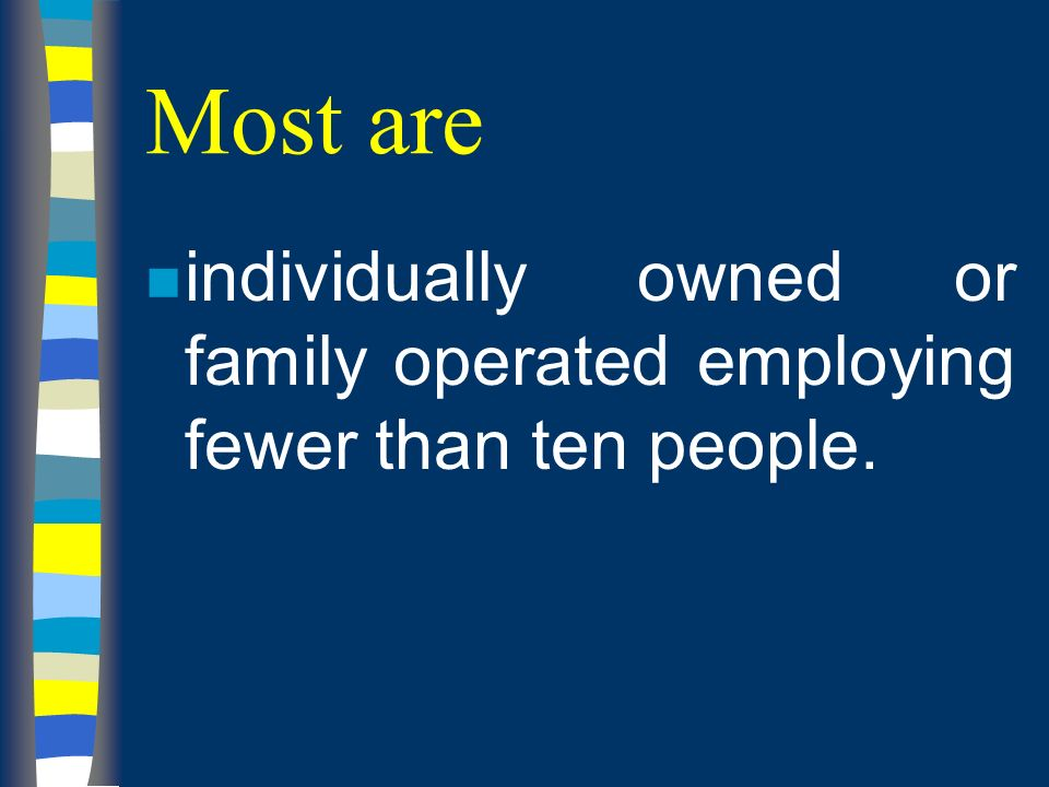 Most are n individually owned or family operated employing fewer than ten people.