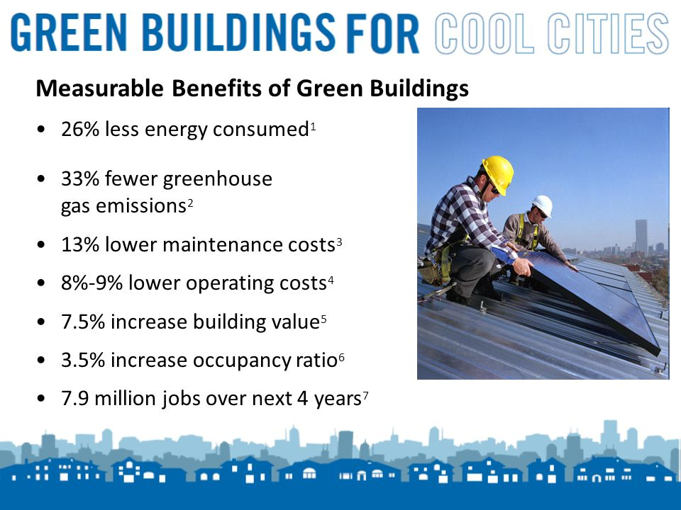 5 Measurable Benefits of Green Buildings 26% less energy consumed 1 33% fewer greenhouse gas emissions 2 13% lower maintenance costs 3 8%-9% lower operating costs 4 7.5% increase building value 5 3.5% increase occupancy ratio million jobs over next 4 years 7