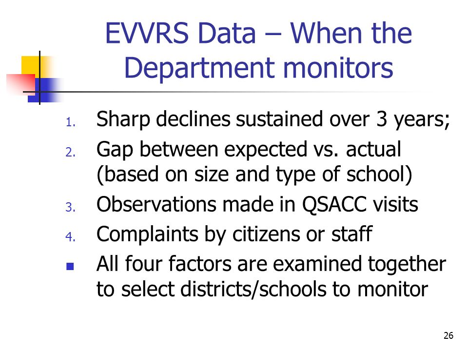 26 EVVRS Data – When the Department monitors 1. Sharp declines sustained over 3 years; 2.