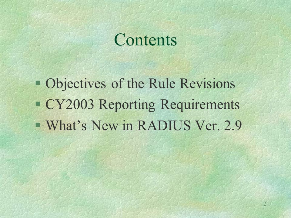 1 SUBCHAPTER 21 EMISSION STATEMENTS Rule Revisions and Program Update