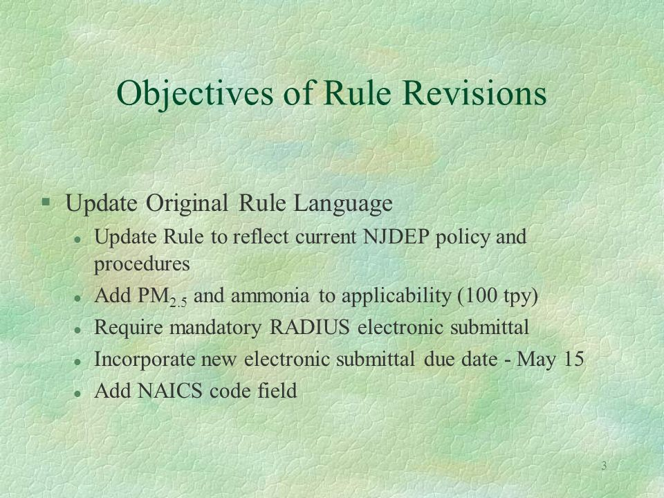 2 Contents §Objectives of the Rule Revisions §CY2003 Reporting Requirements §Whats New in RADIUS Ver.