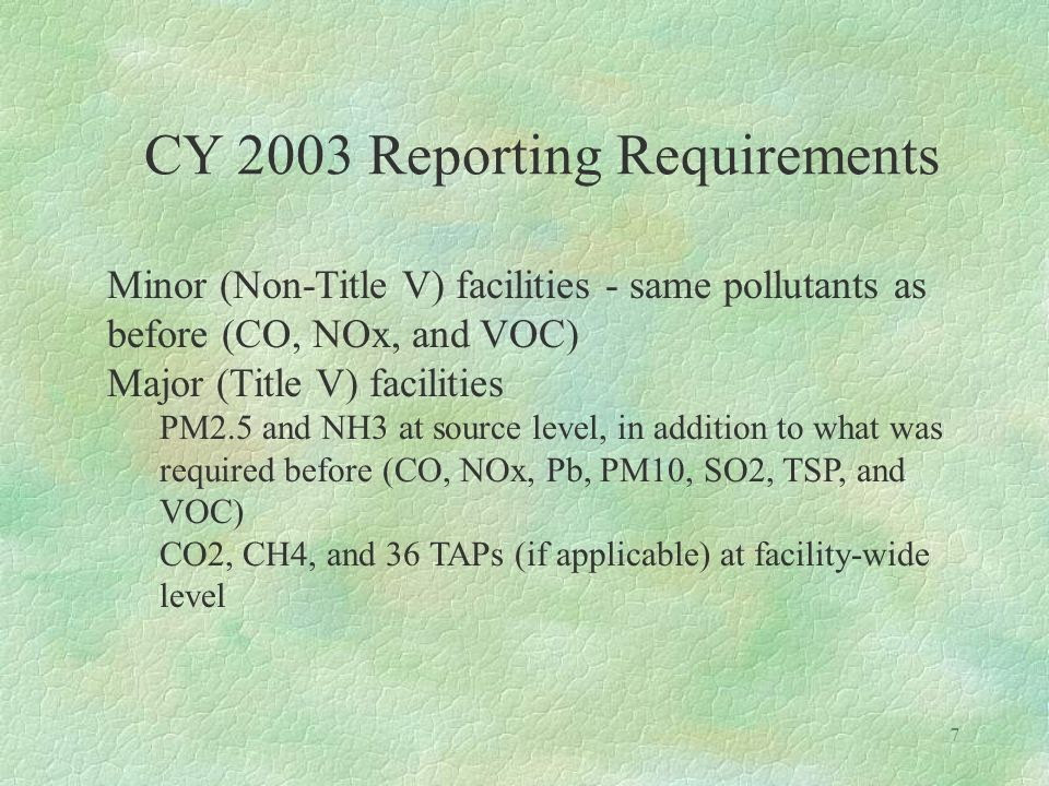 6 CY 2003 Reporting Requirements §Must file electronically unless a hardship waiver is approved in advance §Facilities must use RADIUS Ver.