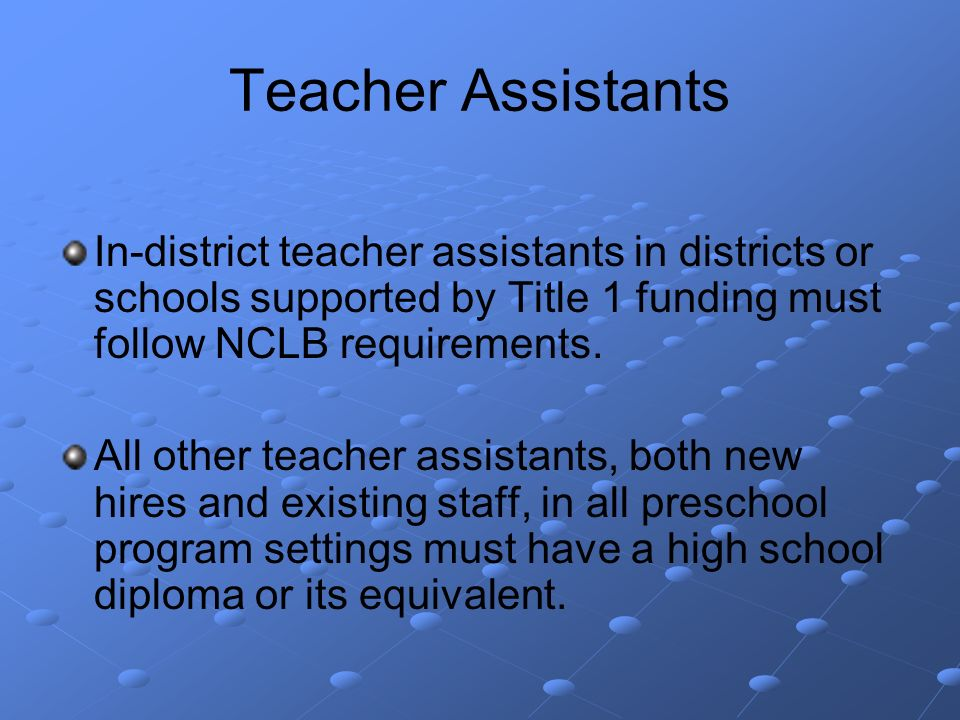 Teacher Assistants In-district teacher assistants in districts or schools supported by Title 1 funding must follow NCLB requirements.