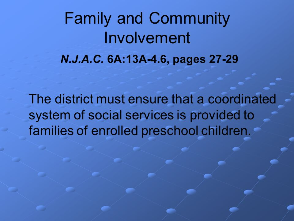 Family and Community Involvement N.J.A.C.