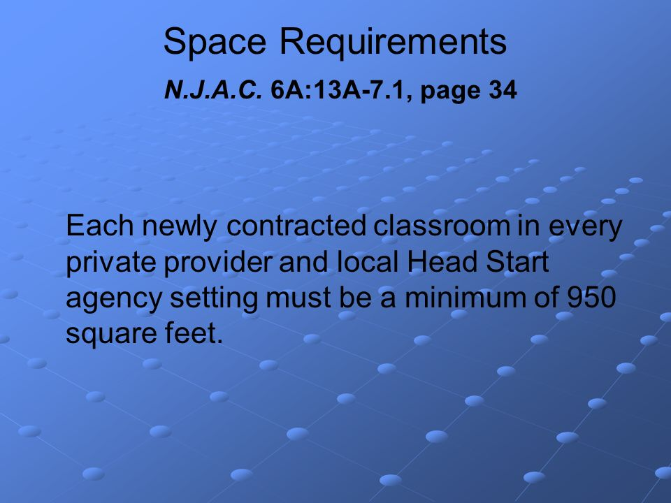 Space Requirements N.J.A.C.