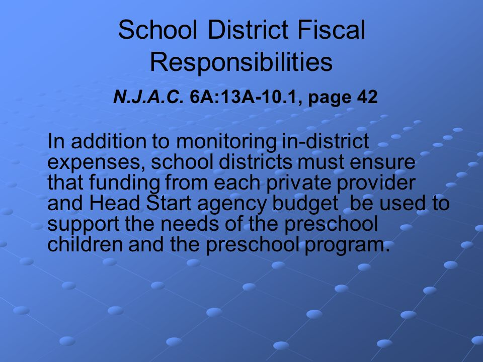 School District Fiscal Responsibilities N.J.A.C.