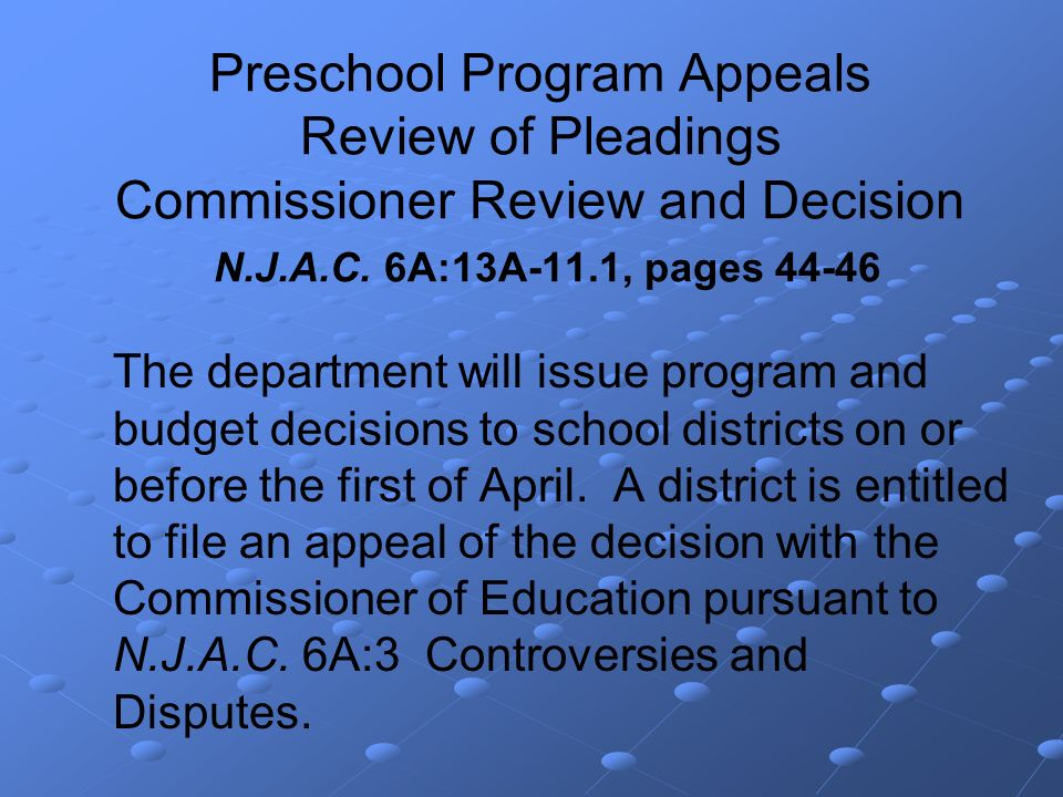 Preschool Program Appeals Review of Pleadings Commissioner Review and Decision N.J.A.C.