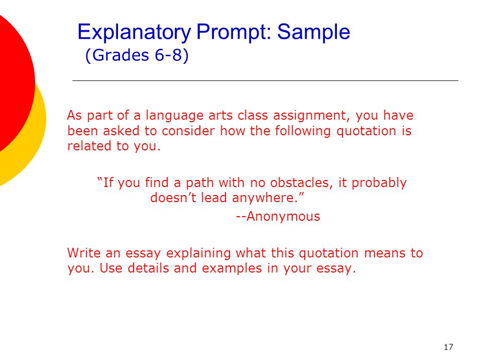 17 Explanatory Prompt: Sample (Grades 6-8) As part of a language arts class assignment, you have been asked to consider how the following quotation is related to you.