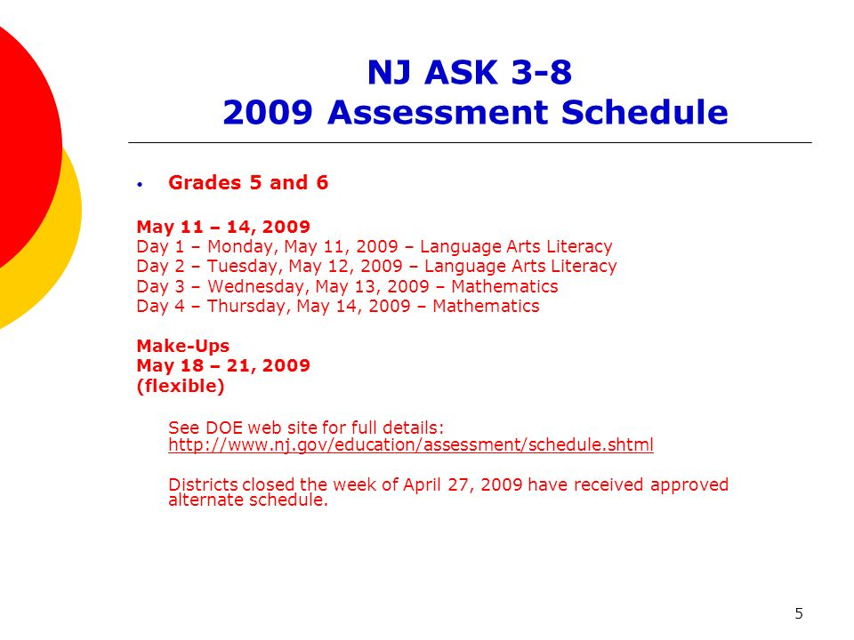 5 NJ ASK 3-8 2009 Assessment Schedule Grades 5 and 6 May 11 – 14, 2009 Day 1 – Monday, May 11, 2009 – Language Arts Literacy Day 2 – Tuesday, May 12, 2009 – Language Arts Literacy Day 3 – Wednesday, May 13, 2009 – Mathematics Day 4 – Thursday, May 14, 2009 – Mathematics Make-Ups May 18 – 21, 2009 (flexible) See DOE web site for full details: http://www.nj.gov/education/assessment/schedule.shtml http://www.nj.gov/education/assessment/schedule.shtml Districts closed the week of April 27, 2009 have received approved alternate schedule.