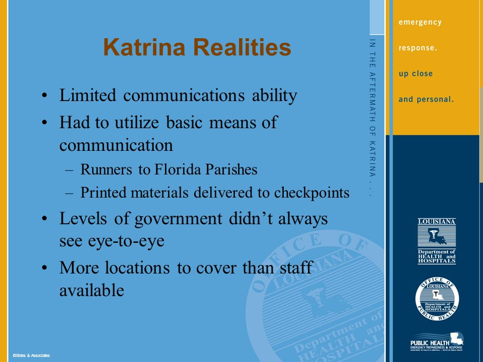 ©Sides & Associates Katrina Realities Limited communications ability Had to utilize basic means of communication –Runners to Florida Parishes –Printed materials delivered to checkpoints Levels of government didnt always see eye-to-eye More locations to cover than staff available