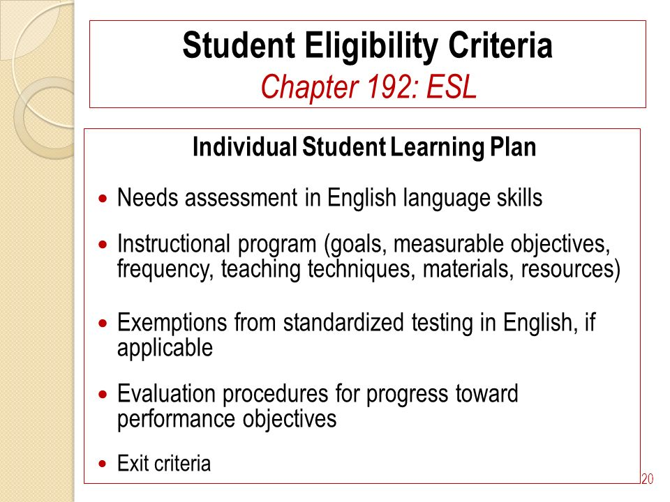 Student Eligibility Criteria Chapter 192: ESL Individual Student Learning Plan Needs assessment in English language skills Instructional program (goals, measurable objectives, frequency, teaching techniques, materials, resources) Exemptions from standardized testing in English, if applicable Evaluation procedures for progress toward performance objectives Exit criteria 20