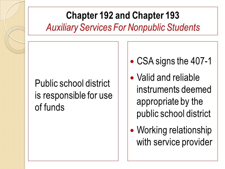 Chapter 192 and Chapter 193 Auxiliary Services For Nonpublic Students Public school district is responsible for use of funds CSA signs the 407-1 Valid and reliable instruments deemed appropriate by the public school district Working relationship with service provider
