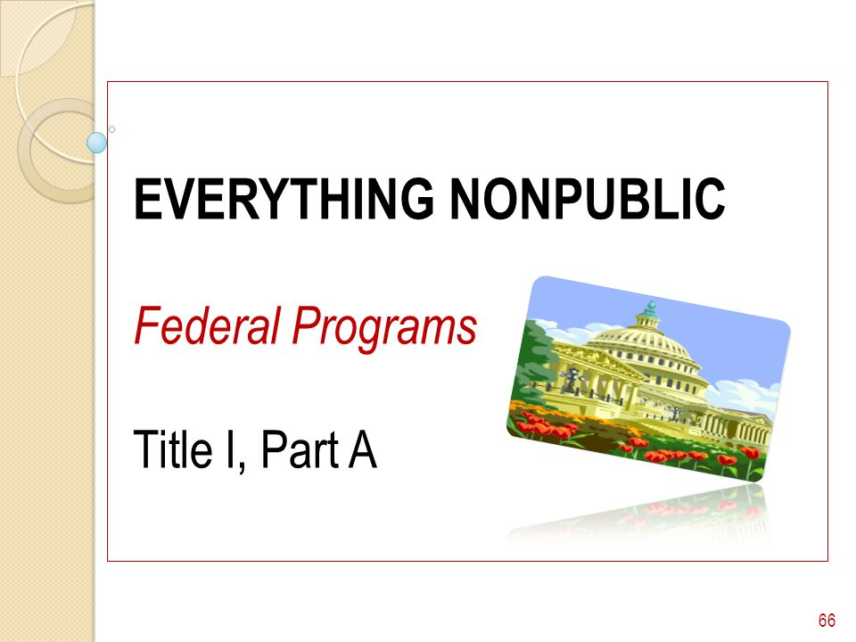 EVERYTHING NONPUBLIC Federal Programs Title I, Part A 66