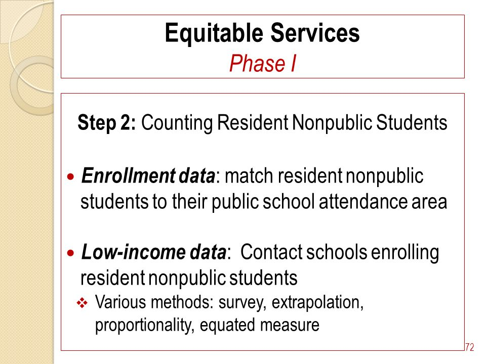 Equitable Services Phase I Step 2: Counting Resident Nonpublic Students Enrollment data : match resident nonpublic students to their public school attendance area Low-income data : Contact schools enrolling resident nonpublic students Various methods: survey, extrapolation, proportionality, equated measure 72