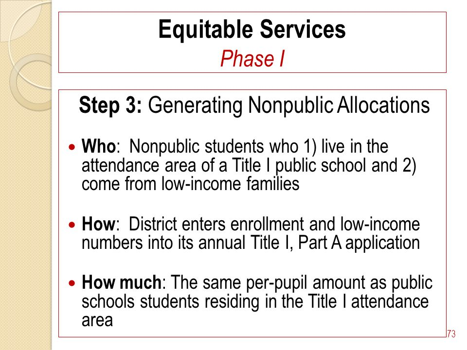 Equitable Services Phase I Step 3: Generating Nonpublic Allocations Who : Nonpublic students who 1) live in the attendance area of a Title I public school and 2) come from low-income families How : District enters enrollment and low-income numbers into its annual Title I, Part A application How much : The same per-pupil amount as public schools students residing in the Title I attendance area 73