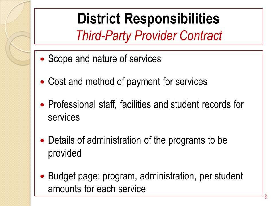 District Responsibilities Third-Party Provider Contract Scope and nature of services Cost and method of payment for services Professional staff, facilities and student records for services Details of administration of the programs to be provided Budget page: program, administration, per student amounts for each service 8