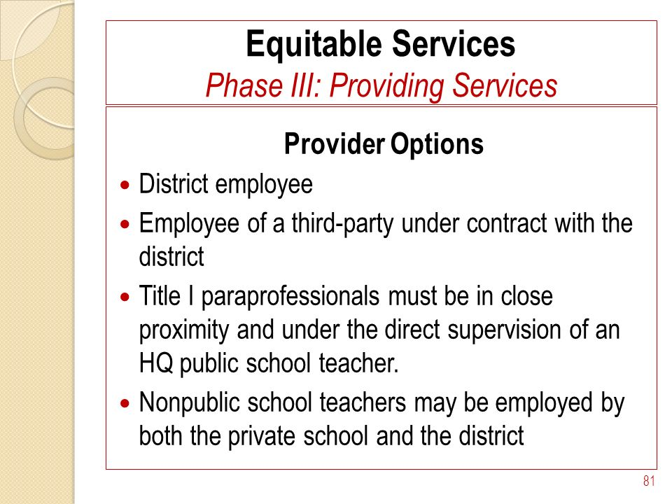 Equitable Services Phase III: Providing Services Provider Options District employee Employee of a third-party under contract with the district Title I paraprofessionals must be in close proximity and under the direct supervision of an HQ public school teacher.