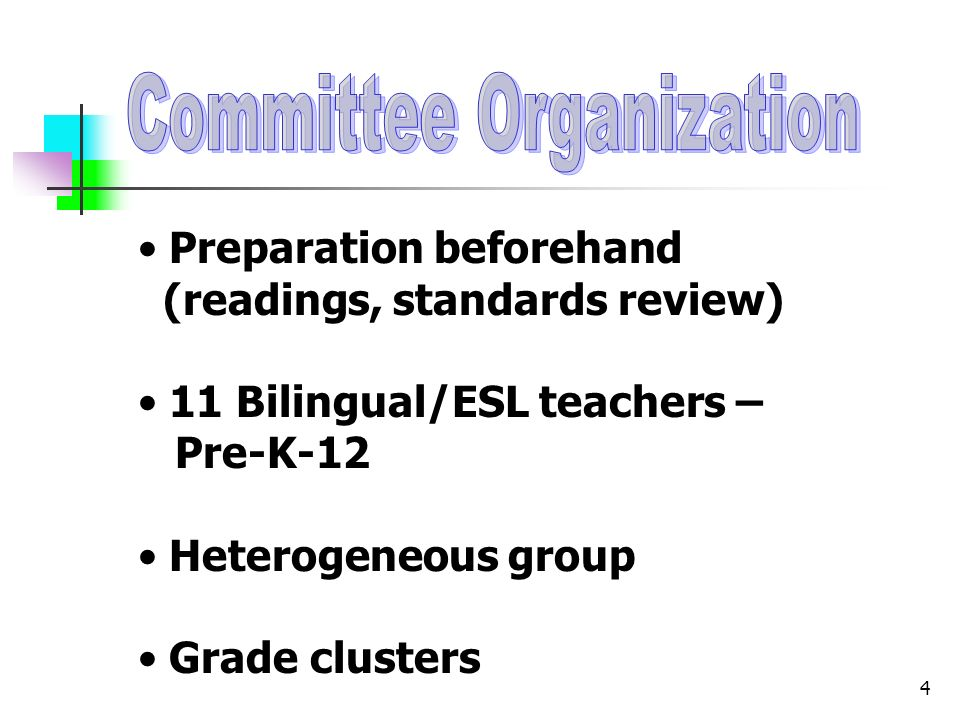 4 Preparation beforehand (readings, standards review) 11 Bilingual/ESL teachers – Pre-K-12 Heterogeneous group Grade clusters