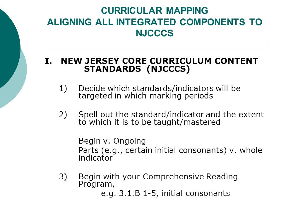 CURRICULAR MAPPING ALIGNING ALL INTEGRATED COMPONENTS TO NJCCCS I.
