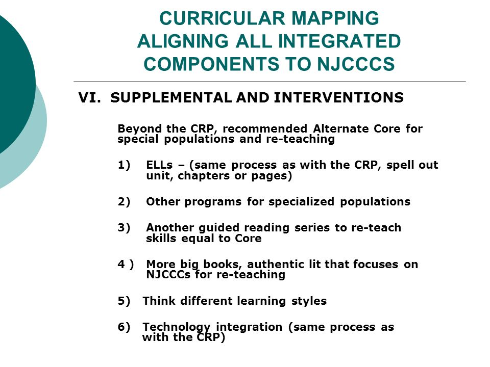 CURRICULAR MAPPING ALIGNING ALL INTEGRATED COMPONENTS TO NJCCCS VI.