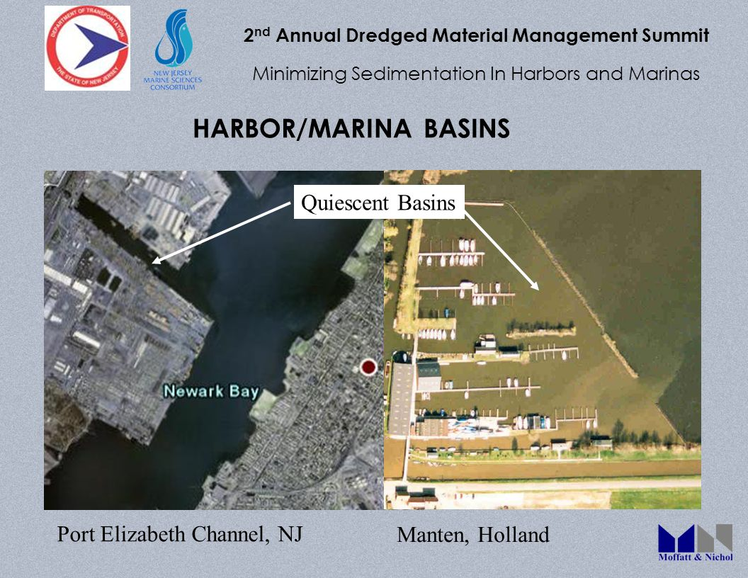 2 nd Annual Dredged Material Management Summit Minimizing Sedimentation In Harbors and Marinas HARBOR/MARINA BASINS Port Elizabeth Channel, NJ Manten, Holland Quiescent Basins