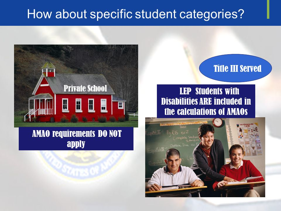 How about specific student categories.