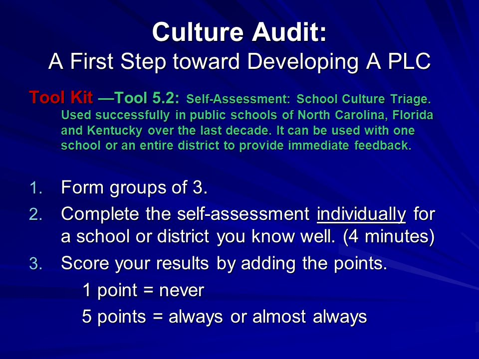 Culture Audit: A First Step toward Developing A PLC Tool Kit Tool 5.2: Self-Assessment: School Culture Triage.