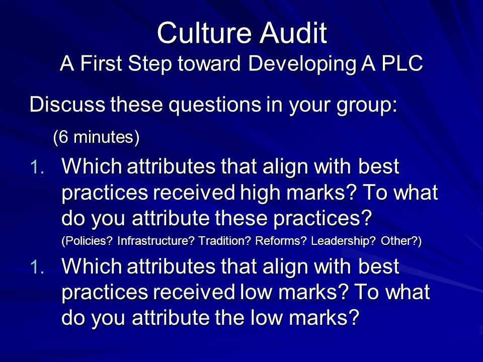 Culture Audit A First Step toward Developing A PLC Discuss these questions in your group: (6 minutes) (6 minutes) 1.