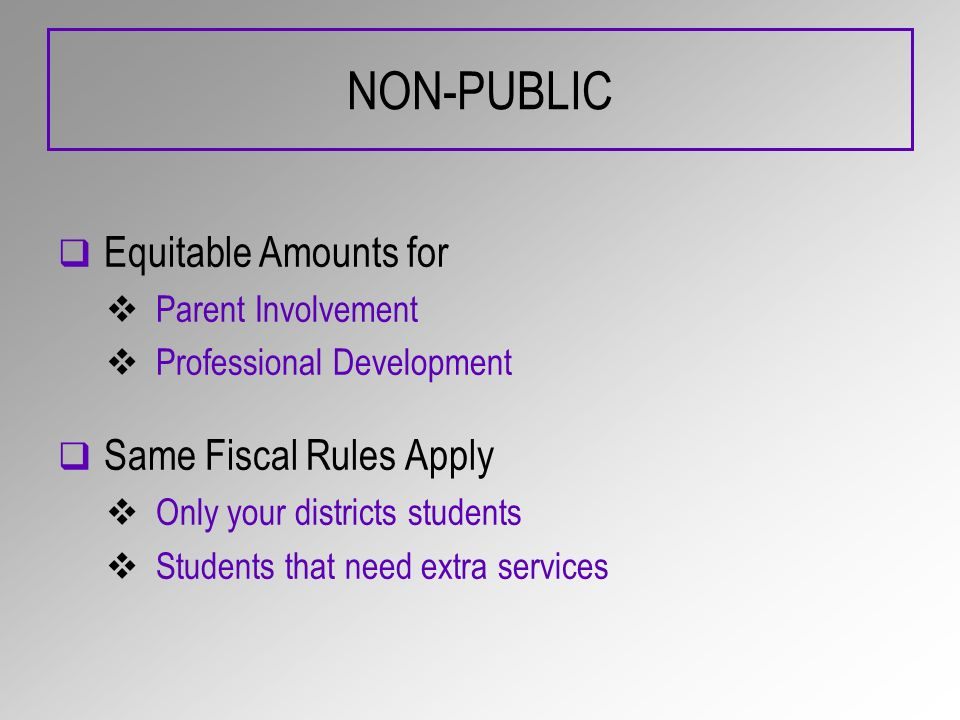 NON-PUBLIC Equitable Amounts for Parent Involvement Professional Development Same Fiscal Rules Apply Only your districts students Students that need extra services