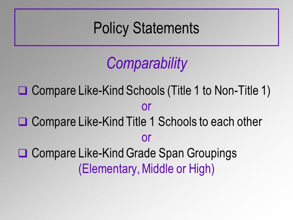 Policy Statements Comparability Compare Like-Kind Schools (Title 1 to Non-Title 1) or Compare Like-Kind Title 1 Schools to each other or Compare Like-Kind Grade Span Groupings (Elementary, Middle or High)