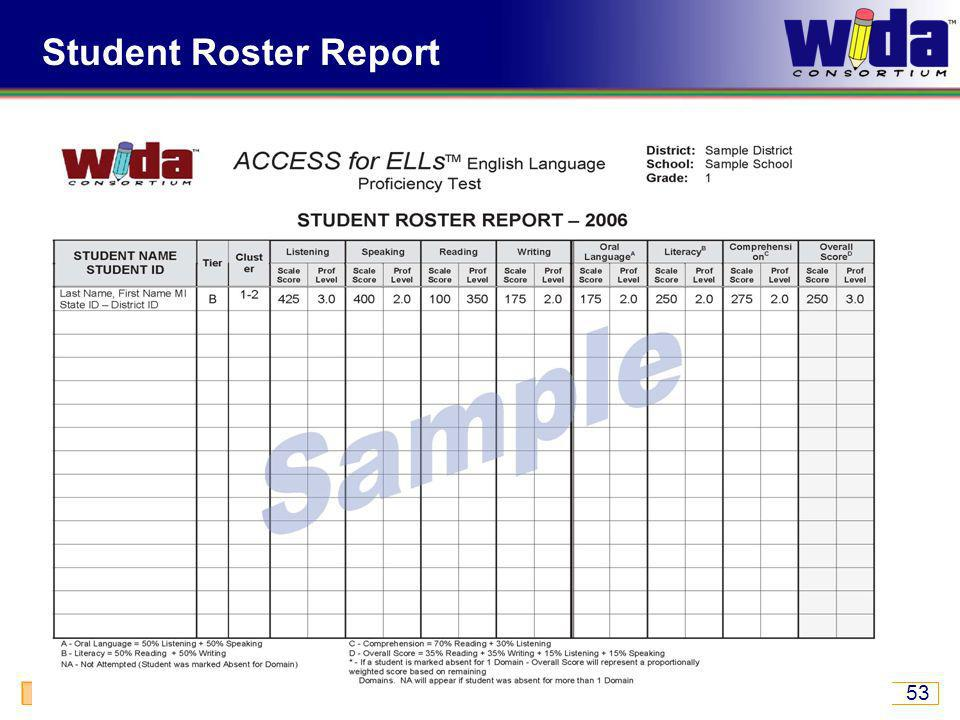 ACCESS for ELLs ® Tiers, Ordering, Security, and Score Reports 53 Student Roster Report