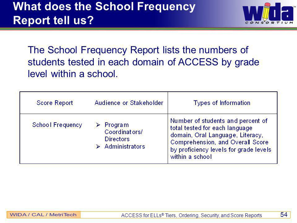 ACCESS for ELLs ® Tiers, Ordering, Security, and Score Reports 54 What does the School Frequency Report tell us.