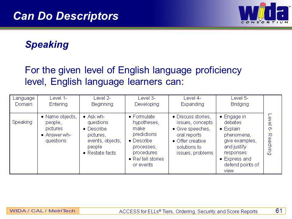 ACCESS for ELLs ® Tiers, Ordering, Security, and Score Reports 61 Can Do Descriptors Speaking For the given level of English language proficiency level, English language learners can: