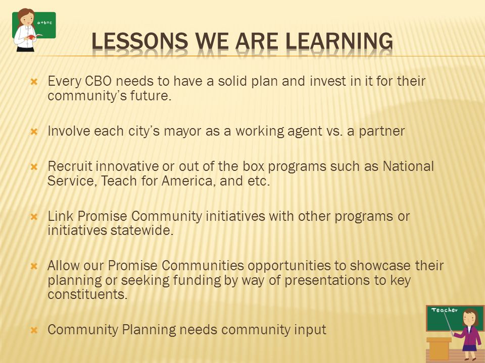 Every CBO needs to have a solid plan and invest in it for their communitys future.
