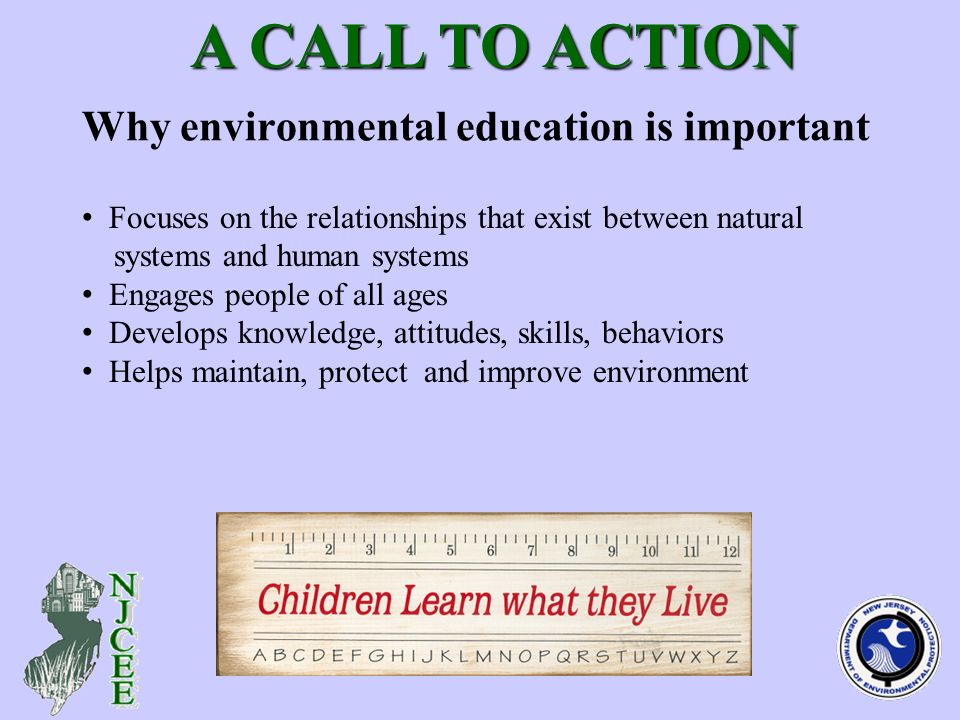 Why environmental education is important A CALL TO ACTION A CALL TO ACTION Focuses on the relationships that exist between natural systems and human systems Engages people of all ages Develops knowledge, attitudes, skills, behaviors Helps maintain, protect and improve environment