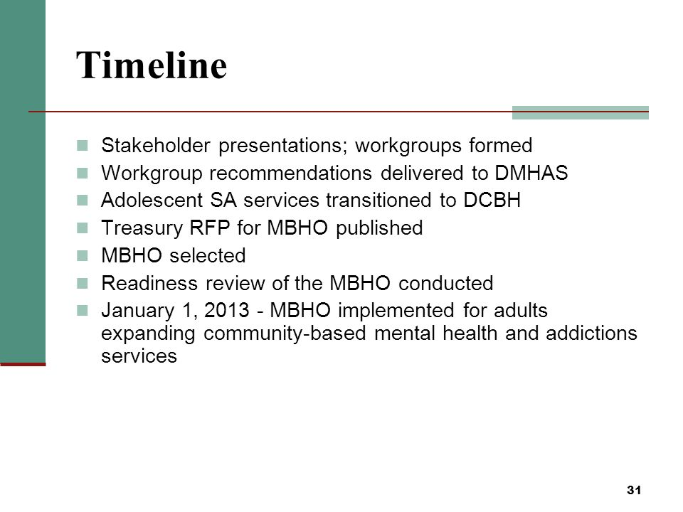 31 Timeline Stakeholder presentations; workgroups formed Workgroup recommendations delivered to DMHAS Adolescent SA services transitioned to DCBH Treasury RFP for MBHO published MBHO selected Readiness review of the MBHO conducted January 1, 2013 - MBHO implemented for adults expanding community-based mental health and addictions services