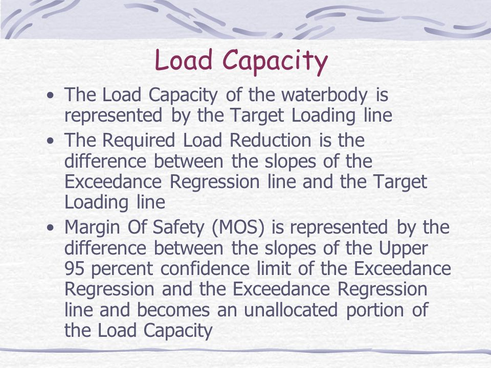 Load Capacity The Load Capacity of the waterbody is represented by the Target Loading line The Required Load Reduction is the difference between the slopes of the Exceedance Regression line and the Target Loading line Margin Of Safety (MOS) is represented by the difference between the slopes of the Upper 95 percent confidence limit of the Exceedance Regression and the Exceedance Regression line and becomes an unallocated portion of the Load Capacity