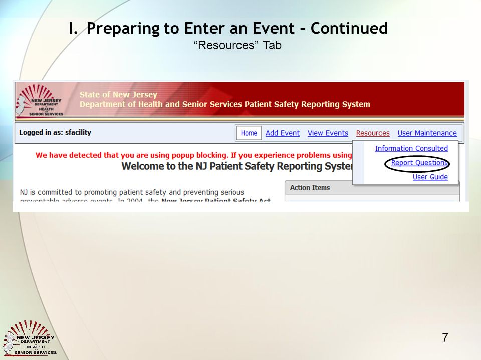 7 I.Preparing to Enter an Event – Continued Resources Tab