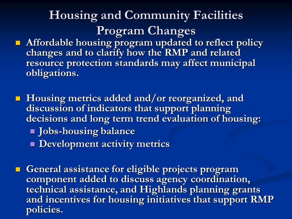 Housing and Community Facilities Program Changes Affordable housing program updated to reflect policy changes and to clarify how the RMP and related resource protection standards may affect municipal obligations.