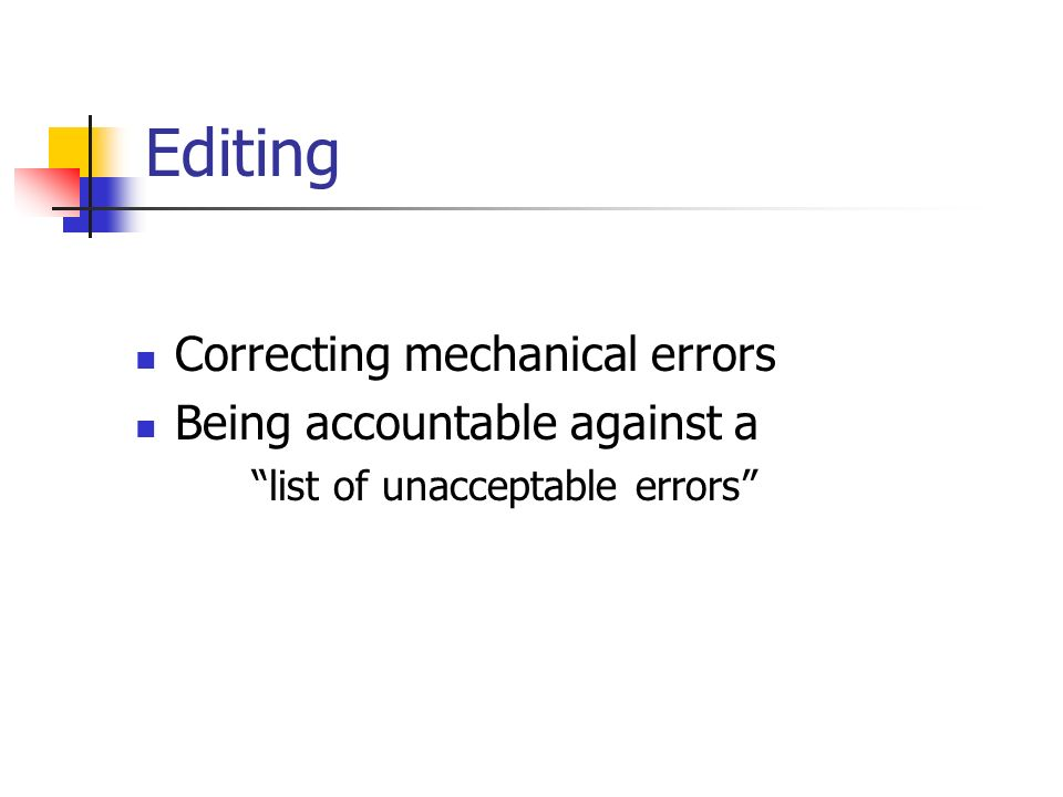 Editing Correcting mechanical errors Being accountable against a list of unacceptable errors