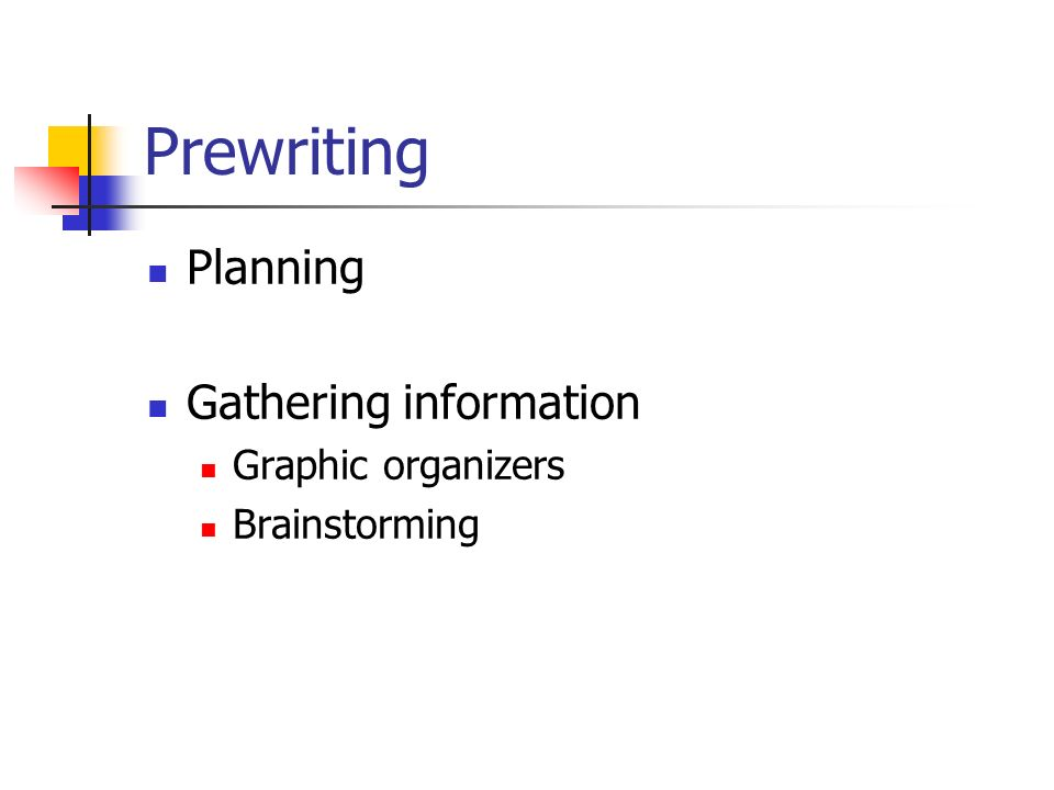 Prewriting Planning Gathering information Graphic organizers Brainstorming