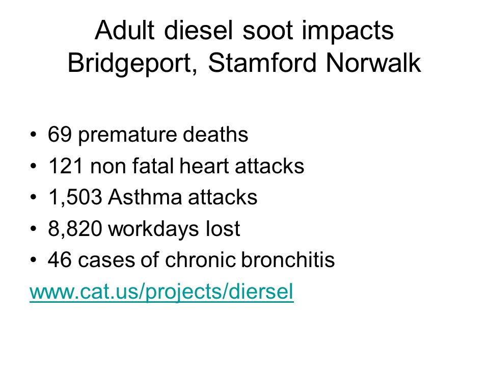 Adult diesel soot impacts Bridgeport, Stamford Norwalk 69 premature deaths 121 non fatal heart attacks 1,503 Asthma attacks 8,820 workdays lost 46 cases of chronic bronchitis www.cat.us/projects/diersel