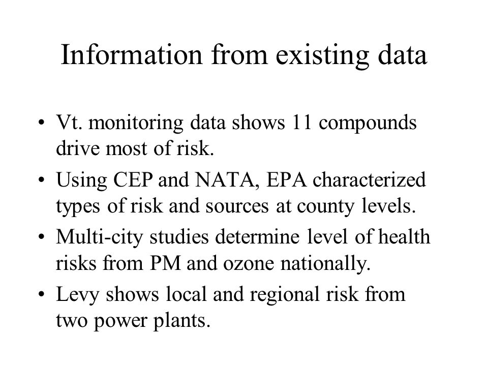 Information from existing data Vt. monitoring data shows 11 compounds drive most of risk.