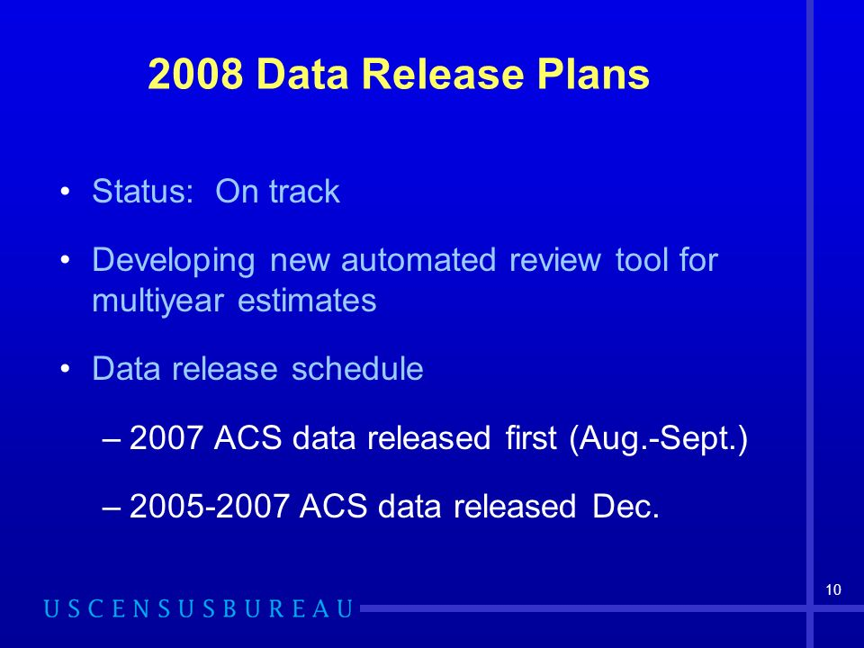10 2008 Data Release Plans Status: On track Developing new automated review tool for multiyear estimates Data release schedule –2007 ACS data released first (Aug.-Sept.) –2005-2007 ACS data released Dec.